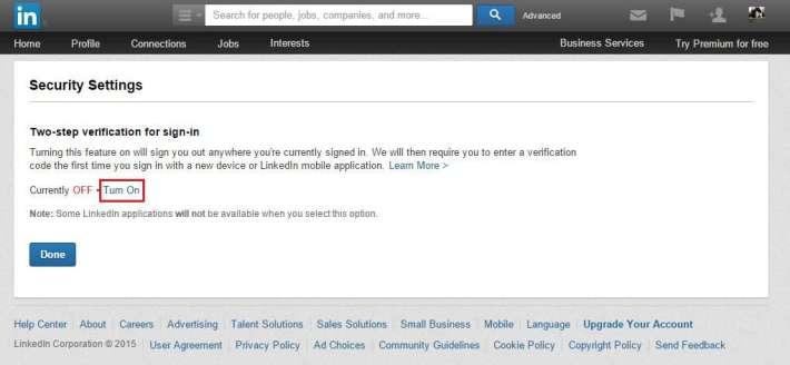 Linkedin - Security Settings