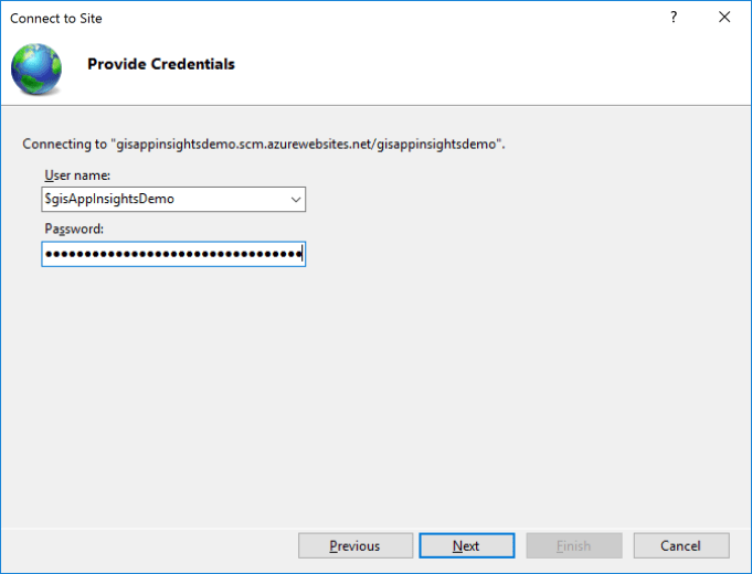 IIS Manager - Connect to a Site - Provide Credentials