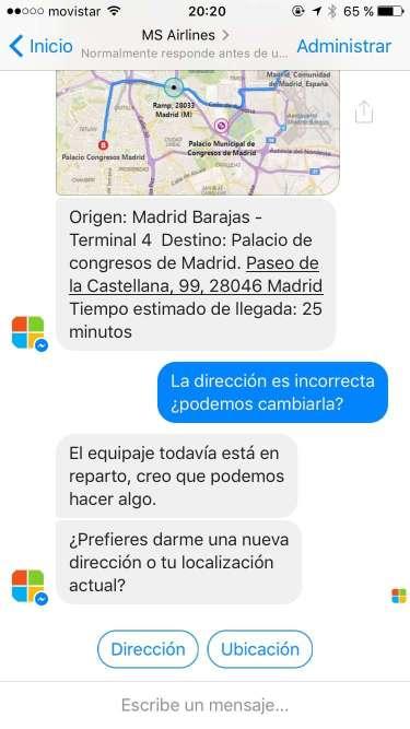 MS Airlines - Cambiar la dirección de entrega a través de la ubicación