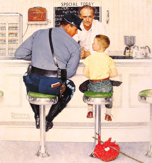 Norman Rockwell Cop at Counter w Boy