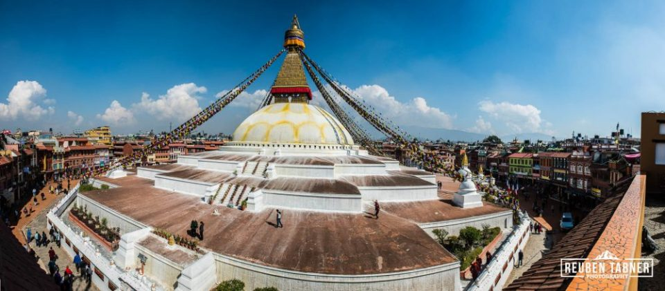 A panoramic view of the Boudhanath Stupa.