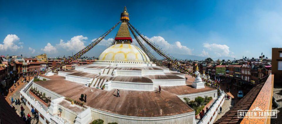 A panoramic view of the Boudhanath Stupa.
