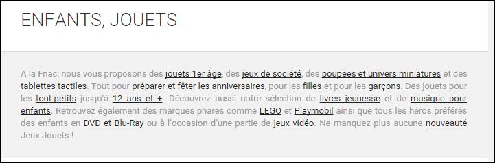 Texte d'une catégorie sur fnac.com