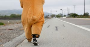 Meet the man in the bear costume walking from Los Angeles to San Francisco