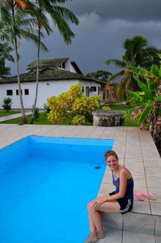 Ruth enjoys the pool before the storm comes in