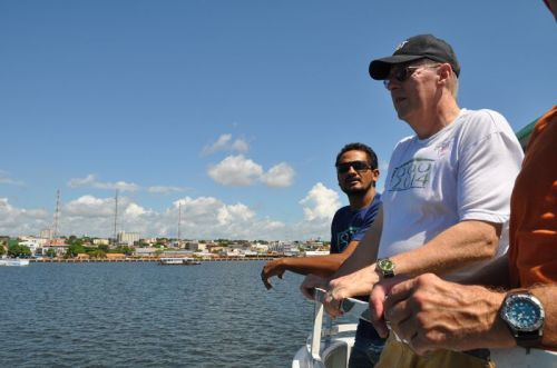 From the top deck of the line boat, Joaquim and Dad overlook Santarém