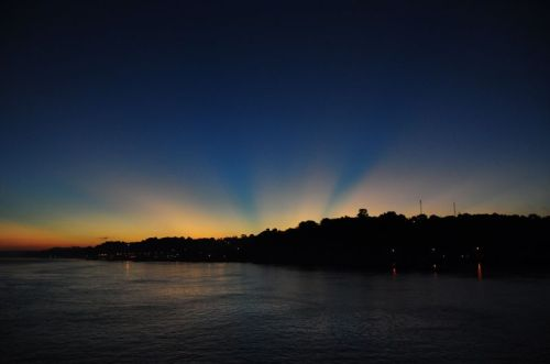 Appearing angelic, the city of Monte Alegre basks in a glorious sunset