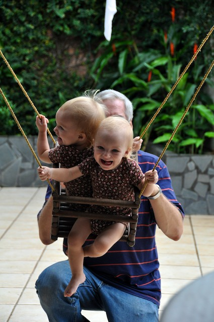 It's sad when mommy's not around, at least our swing makes us feel better.
