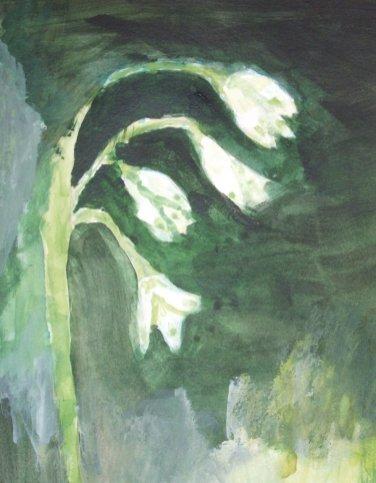 NR 6 Mondschilderen Titel: Sneeuwklokjes, Type: Acryl op papier, Maten inclusief lijst 30 x 40 cm