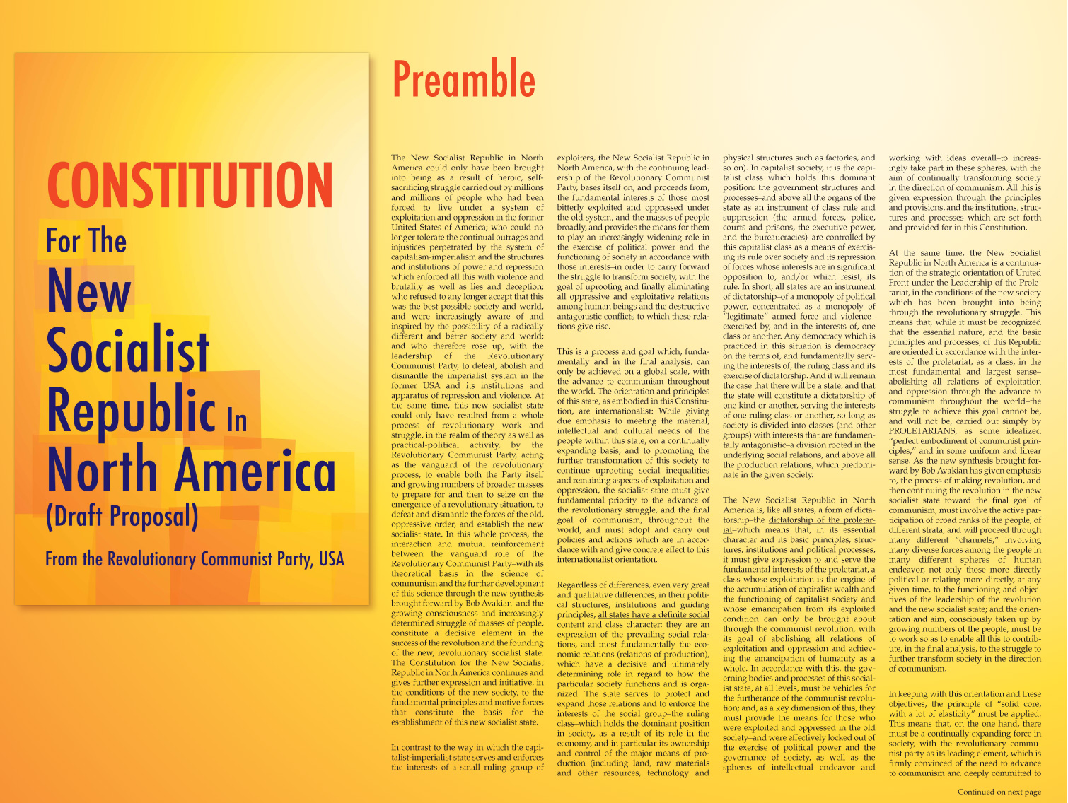 Preamble To The Constitution For The New Socialist