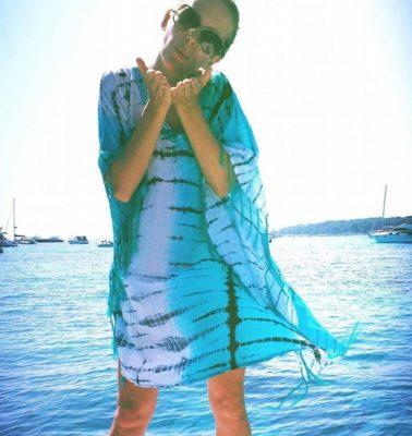 tunique bleue coton