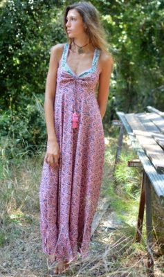 robe longue boheme rose