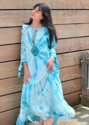 Robe kaftan longue turquoise