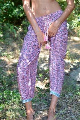 pantalon soie rose