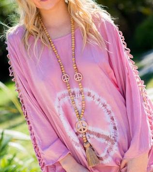 collier long perles bois
