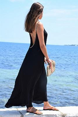 Robe longue dos nu noire
