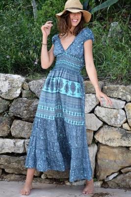 Robe longue bleu imprimée