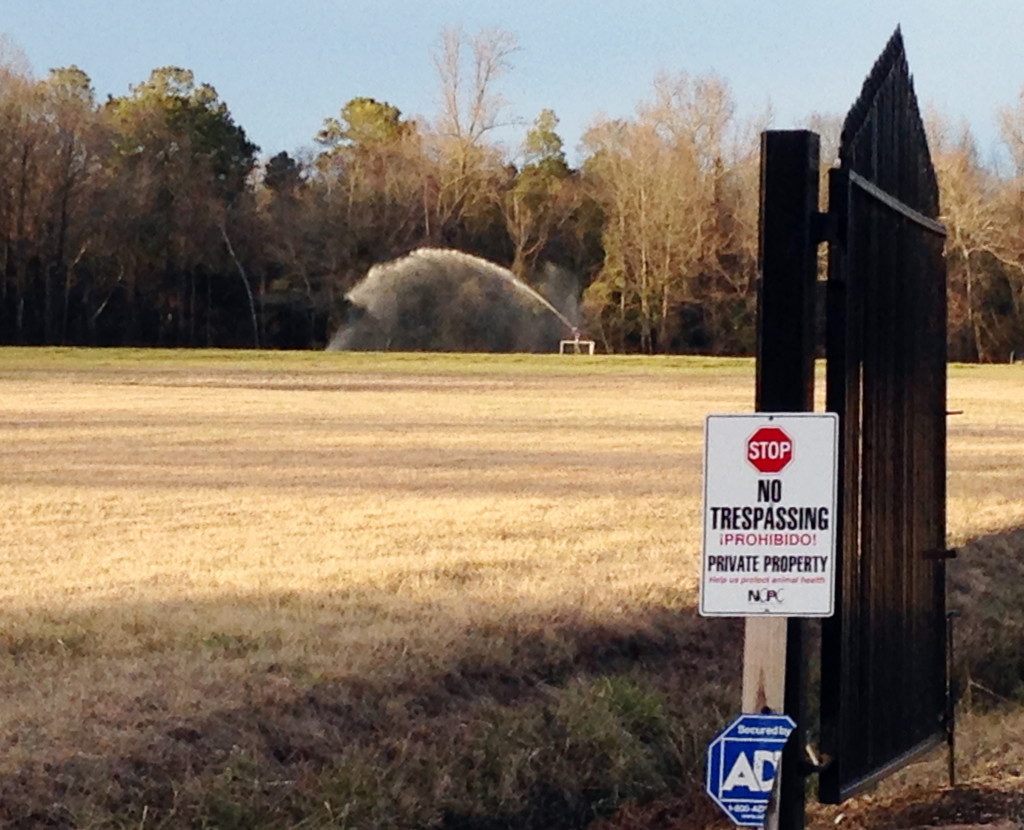 A sprayer soaks a field with liquefied manure and urine from a large-scale hog farm in Duplin County, N.C. Nearby residents complain that the mist blows onto their properties and homes.