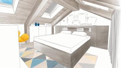une chambre mansardee sous les combles