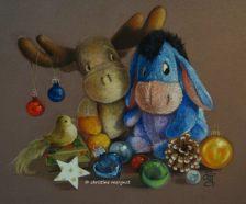 """""""christma's friends"""" format 30 X 40 cm EXCLUSIVITE GALERIE D'ART DU VIEUX PONT A TREIGNAC (19)"""