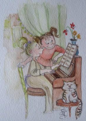 """dingo musée """"jeunes dingos au piano"""""""