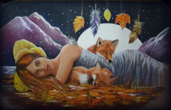 """""""lune rousse"""" pastel 50 X 70 cm création perso DISPO"""