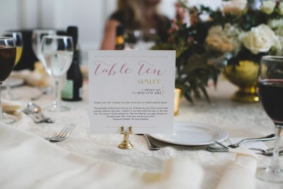 drink recipe table numbers wedding