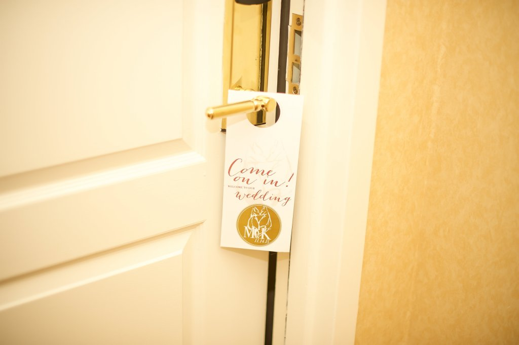 wedding door hanger for hotel doors shh do not disturb, photo by deb & matt photo