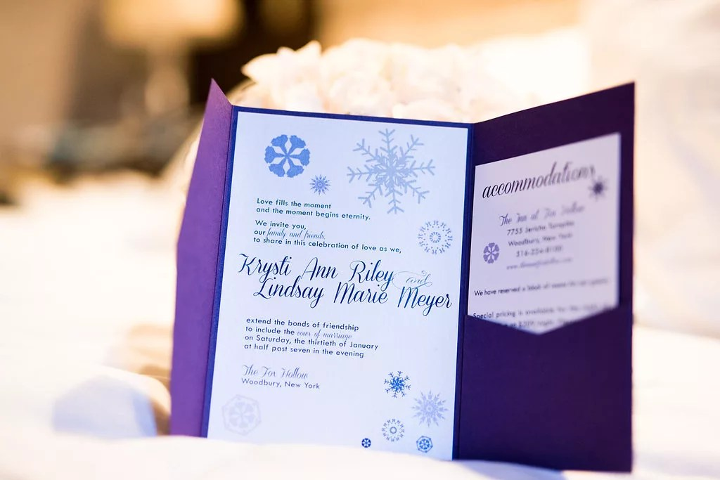 purple snowflake custom wedding invitations