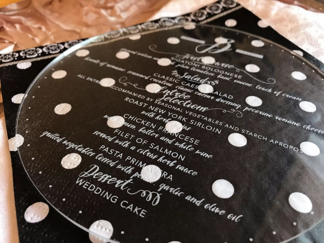 acrylic circle menu laser engraved wedding stationery