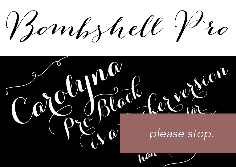 images of bombshell pro and carolyna font