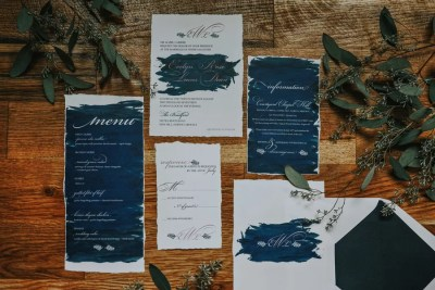 Navy paint organic invitation suite