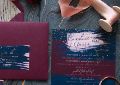 revelry + heart custom invitation suite for beauty and bordeaux styled wedding shoot