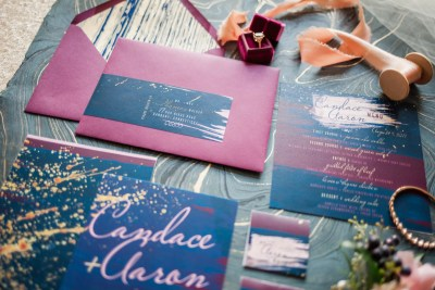 wine and navy paint splatter invitation set by revelry and heart
