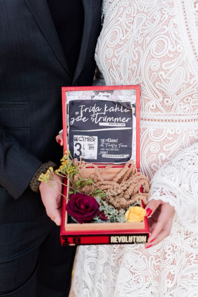 Fabric wedding invites, punk poster and multicolored roses by revelry + heart