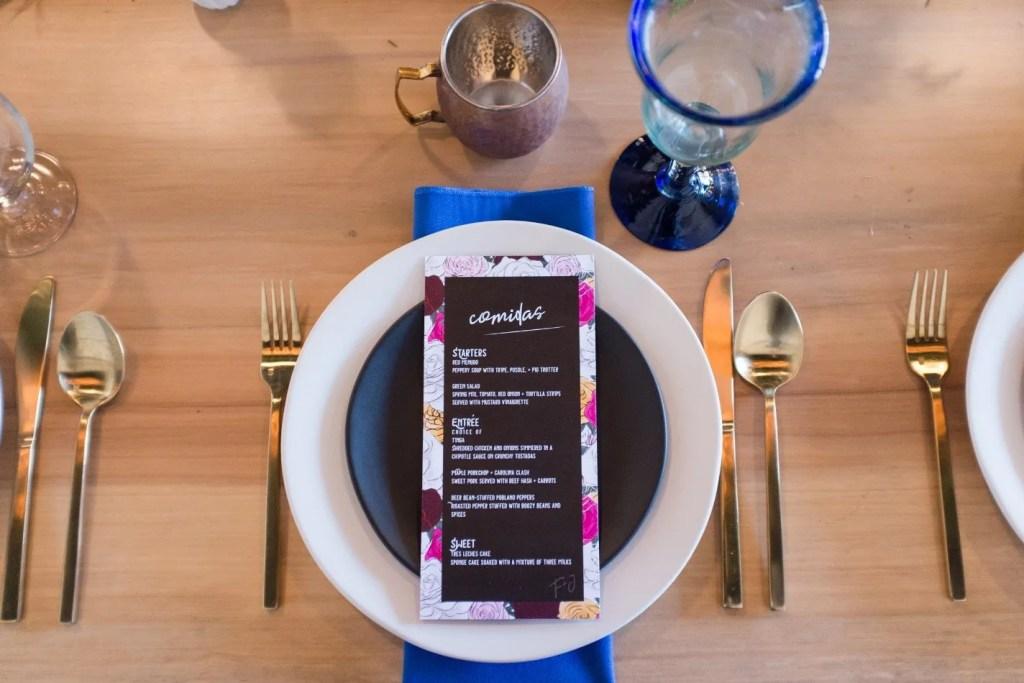 Mexi-Punk, Frida Kahlo and Joe Strummer Mashup wedding menu design revelry + heart