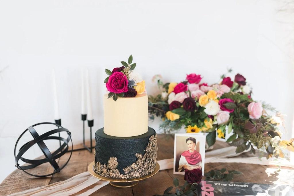Black, gold and cream wedding cake by Sugar Euphoria