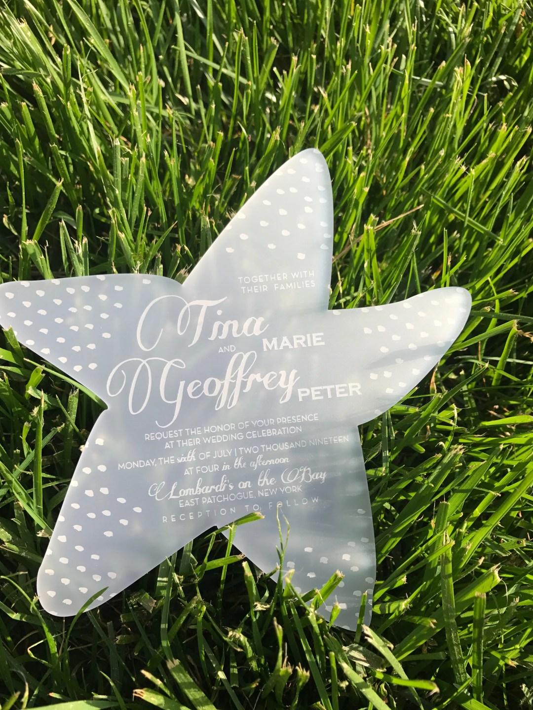 acrylic starfish wedding invitation
