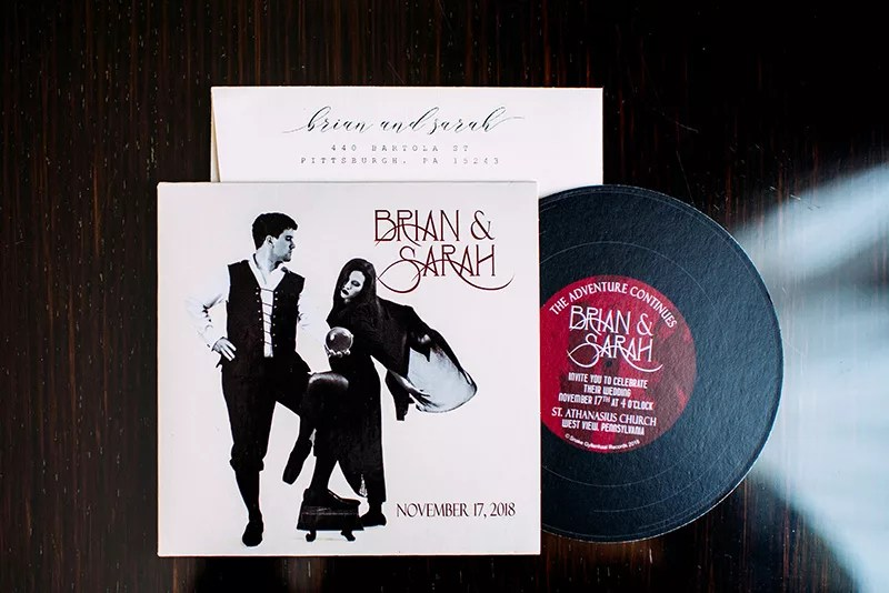 vinyl record emo wedding invitation for Pittsburgh wedding | revelry + heart | Veronica Varos Photo
