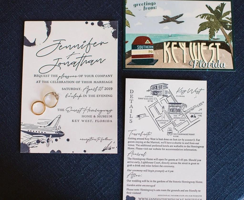 vintage air mail ink blot wedding invitation