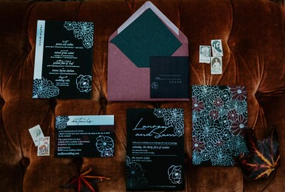 all black invitation suite for gothic weddings