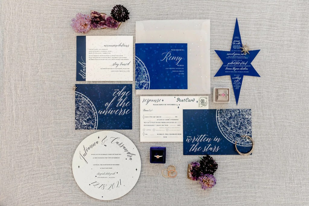 acrylic wedding invtiation suite with celestial design