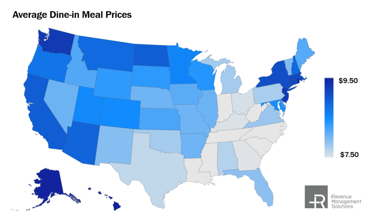 Average QSR dine-in meal prices
