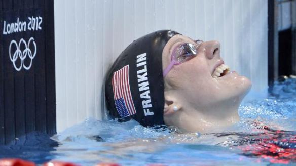 Missy Franklin. Medalla de oro en Espalda Mujer 100M acabando con un tiempo de 58.33 en los Juegos Olímpicos de Londres 2012