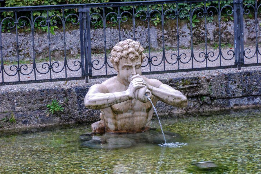 Water fountain at Schloss Hellbrunn in Salzburg, Austria.