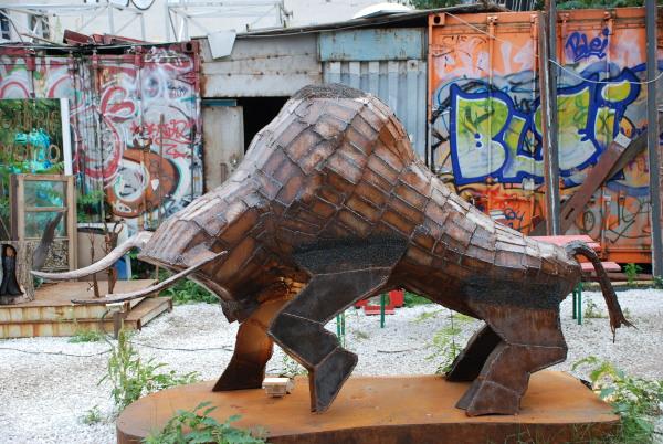 Bull metalwork at Tacheles in Berlin, Germany