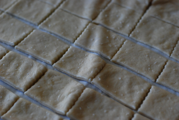 Cutting lavash dough into crackers