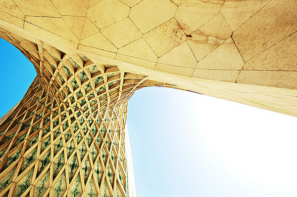 Azadi Tower viewed from below.