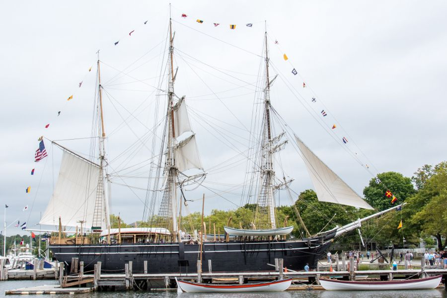 The Charles W Morgan docked at Mystic Seaport in Connecticut.