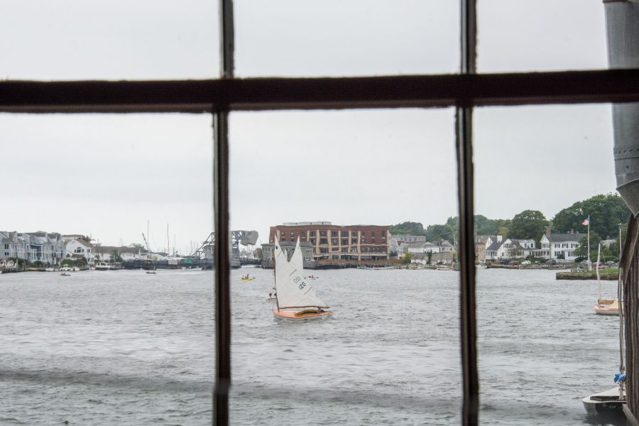 Sailboats on the Mystic River in Connecticut.